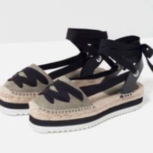 NWT Zara Lace-Up Espadrilles Sandals Size 10 EU 41